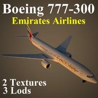 3dsmax boeing 777-300 uae