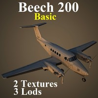 3d model beech 200 basic aircraft