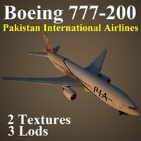 3d model boeing 777-200 pia