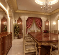 classical dining room 3d max