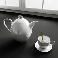 Convex Kitchen Decorations – Porcelain kettle & cup