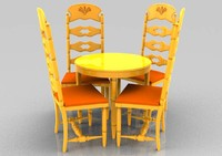 breakfast table chair 3d 3ds