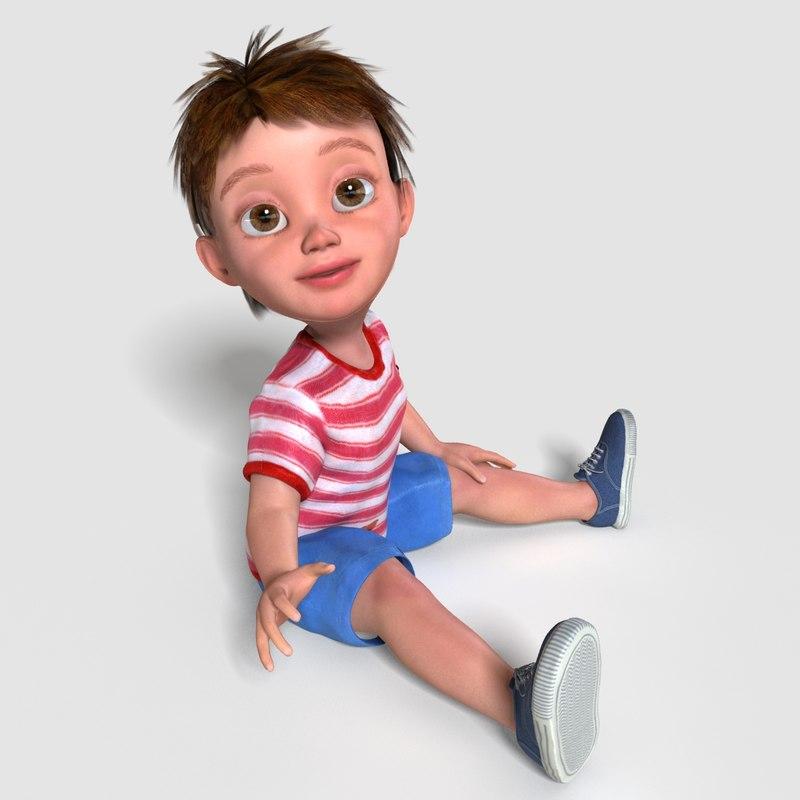 00022Pepijn006 Cute Toddler Boy 3D Model 3D Model MAX OBJ