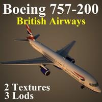 3d model boeing 757-200 baw
