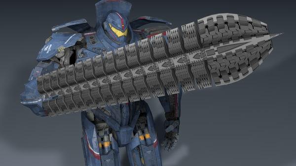 rigged pacific rim 3d c4d Pacific Rim Jaeger Gypsy Danger Sword