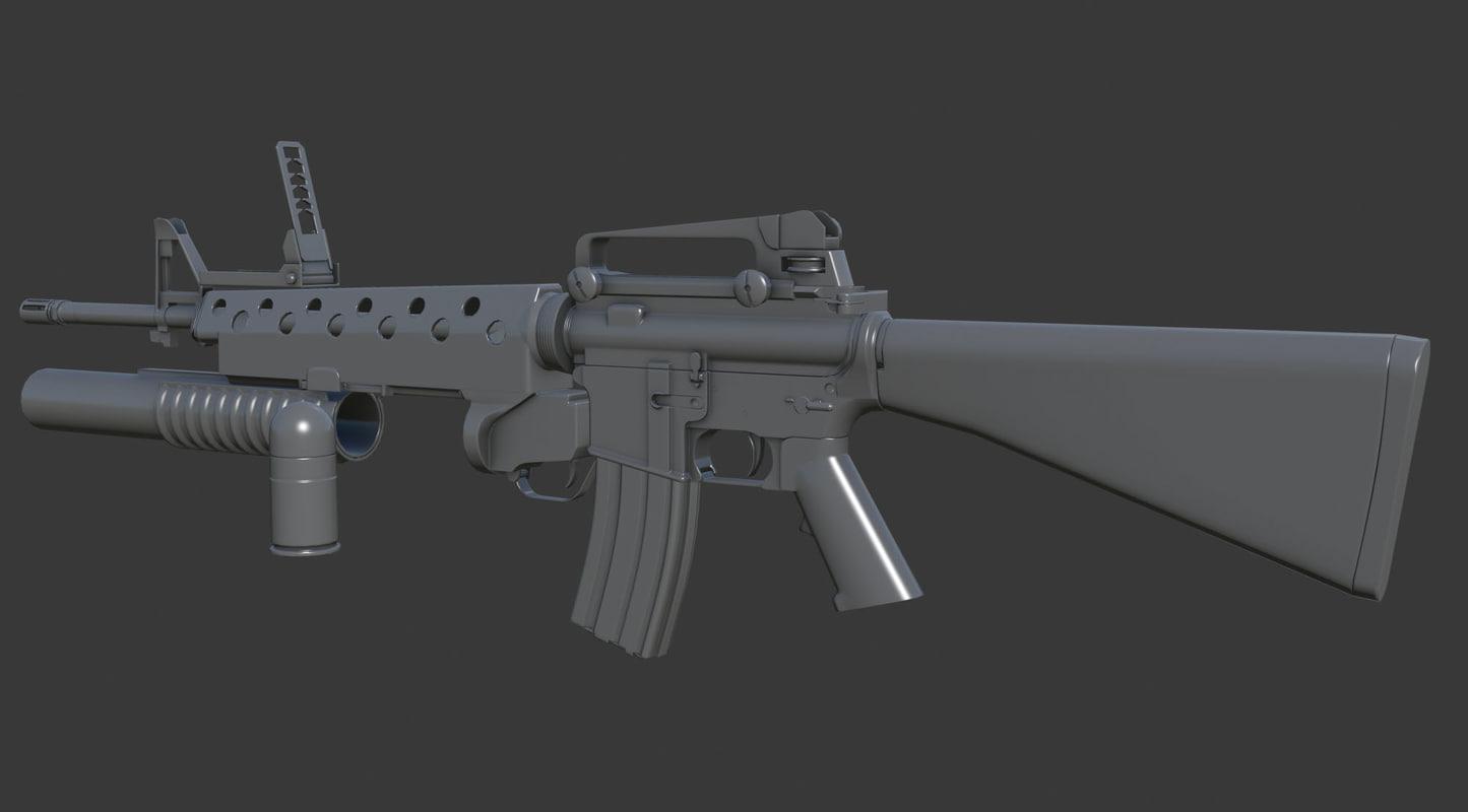 3d model m16a4 m203