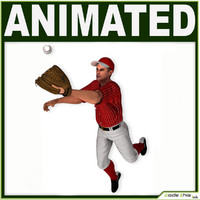 3d hat baseball player cg model