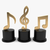 3d model music notes decoration