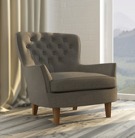 cardiff tufted armchair pottery barn 3d model