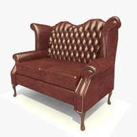 3d model seater dark leather scroll