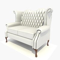 3d 2 seater scroll chair model
