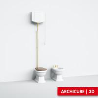 3d model classic toilet