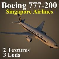 boeing 777-200 sia 3d model
