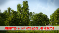 3d model bamboo tree animation