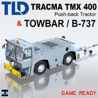 push-back aircraft tractors towbar 3d max