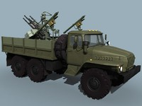 anti-aircraft ural-320 truck aa 3d model