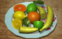 3d fruit pack orange lemon lime model