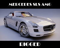 3d mercedes sls amg rigged car model