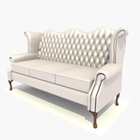 3 seater scroll chair 3d model