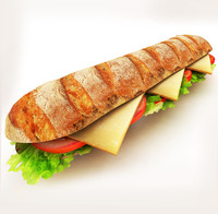 3d model lettuce sandwich