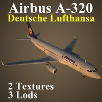 3d airbus dlh airliner model
