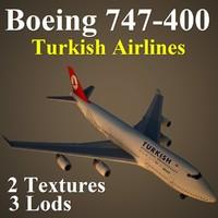 3d model boeing 747-400 thy