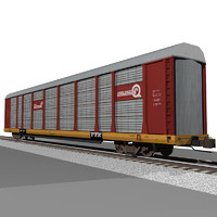 3d train car autorack model