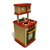 obj wooden toy gas-stove microwave oven