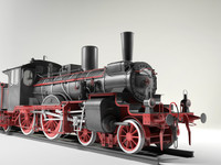 prussian steam locomotive br36 3d model