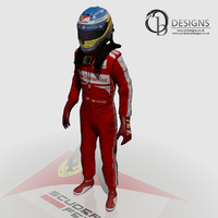 3d model of formula driver fernando alonso