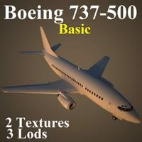 3d model boeing 737-500 basic