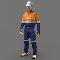 safety worker 3d max