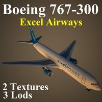 3d boeing 767-300 xla