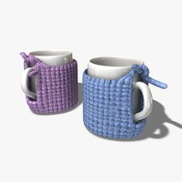 knitted cup holder 3d c4d