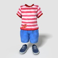 3d model realistic child boy outfit