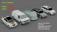 5 cars 3d model