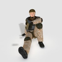 3d model of realistical soldier polys