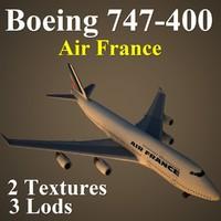 boeing 747-400 afr 3d model