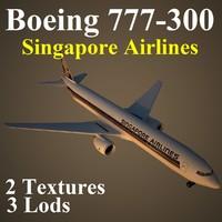 3d boeing 777-300 sia