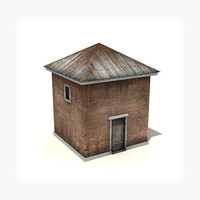 3d model small industrial building low-poly