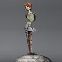 3d model statuette girl