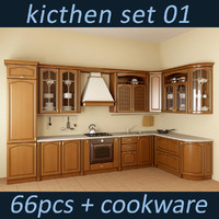 3d kitchen oven set model