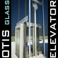 Elevator Lift 3D Model produced by OTIS - Panoramic Cabin made of Steel & Glass for People Transport