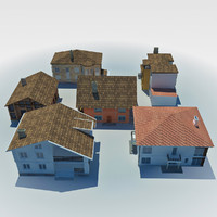 low poly cottage houses