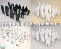 silhouette people c4d