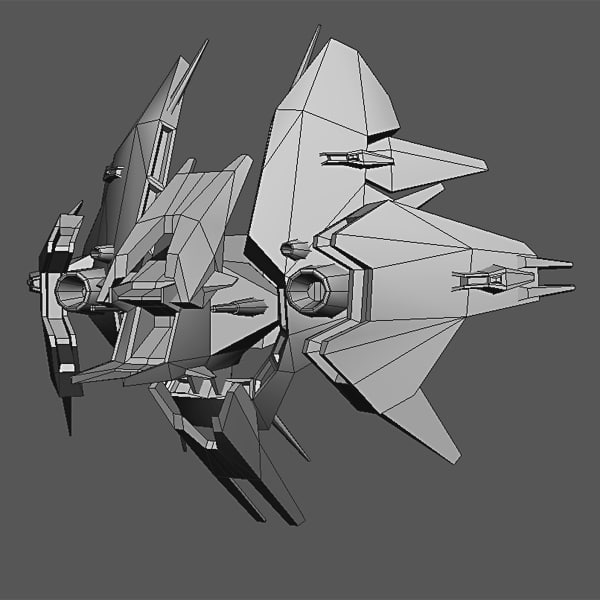 3d alien fighter polys model - Low Poly Alien Fighter... by CGPitbull