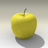 3d model photorealistic yellow apple