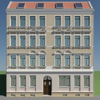 3d facade historical building house