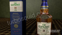 Glenlivet Scotch whisky eighteen years old bottle and box