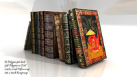 3d model set old books